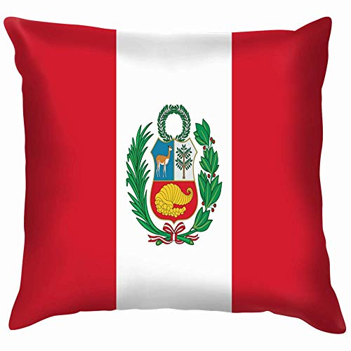 Moily Fayshow State Flag Peru Accurate Dimensions Buildings Landmarks Pillow Case Throw Pillow Cover Square Cushion Cover 55X55 Cm