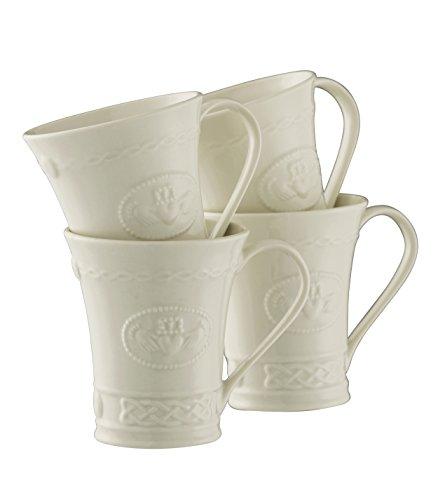 Belleek Pottery Claddagh Mugs (Set of 4), White