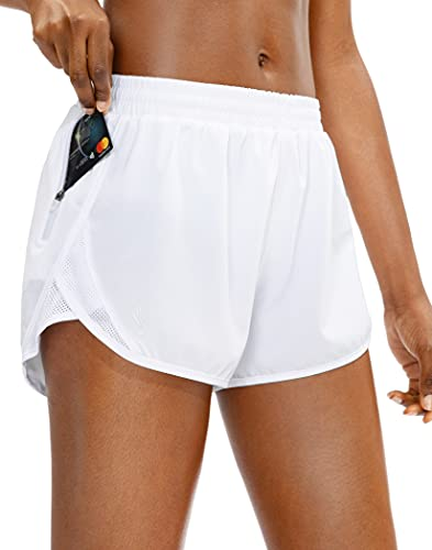 SANTINY Women's Running Shorts with Zipper Pocket Quick Dry Athletic Workout Gym Shorts for Women with Liner(White_L)
