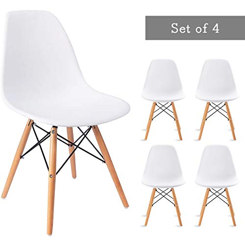 Waleaf Set of 4 Modern Eames Style Dining Chair Mid-Century DSW Side Chair with Natural Wood Legs, Shell Lounge Plastic Armless Chair for Kitchen, Bedroom, Living and Dining Room (White)