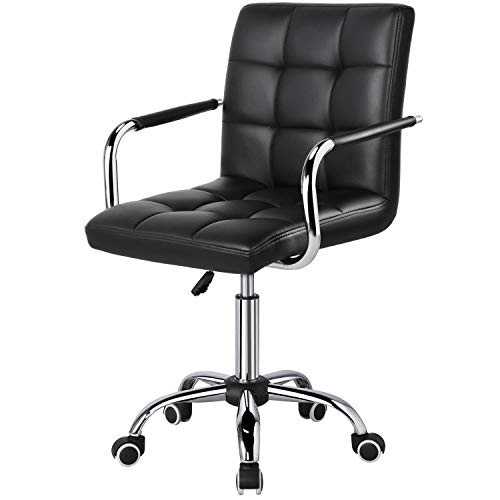 Yaheetech Black Adjustable Faux Leather Swivel Office Chair Gas Lift Stool...
