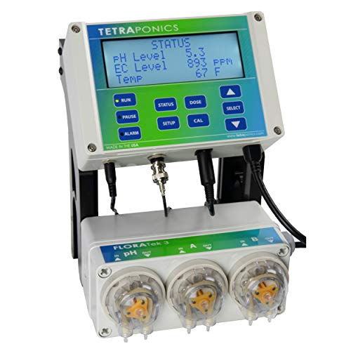 Tetraponics FLORATek 3 Hydroponics pH and Nutrient Control System - Automated Water Monitor and Doser with Temperature, pH, and EC (ppm) Probes and 3 Pumps for pH, A and B Nutrients