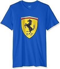 Puma Camiseta Manga Corta Hombre Azul con Escudo Ferrari