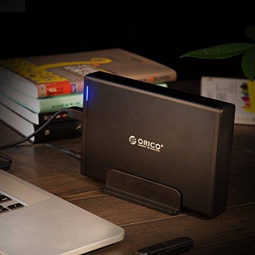 ORICO 3,5 '' Externes Festplattengehäuse mit Abnehmbarem Gehäuse, USB 3.1 Gen 2 auf SATA 3.0 Adapter für SATA 3,5 Zoll HDD mit 12V 2A Netzteil (16 TB Max, Blaue Anzeige)