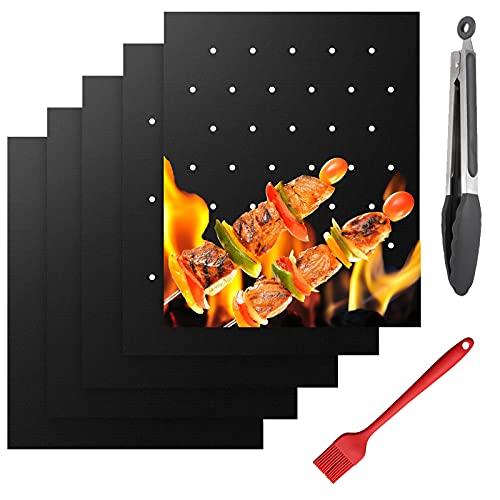 Nifogo Estera Barbacoa 50x40cm, 5 Piezas Alfombrilla Reutilizable Estera Antiadherente de Barbacoa con Pinzas de Cocina, para Horno,Gas Carbón (5PCS)