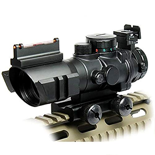 UUQ Prism 4x32 Red/Green/Blue Triple Illuminated Rapid Range Reticle Rifle Scope W/Top Fiber Optic Sight and Weaver Slots