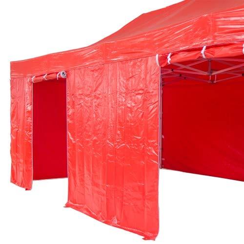 INTEROUGE-Tenda Pieghevole, 4 x 8 M, in PVC e Alluminio 520 g/M², 4 teloni Laterali-Gazebo Pieghevole, dentatura Barnum Rosso