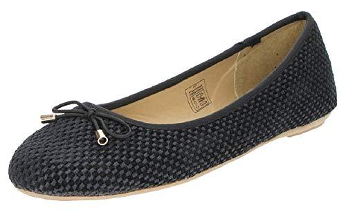 Fitters Footwear That Fits Damen Ballerina Isla Textil Ballerina mit Schleife Textil mit Struktur Übergröße (42 EU, schwarz)