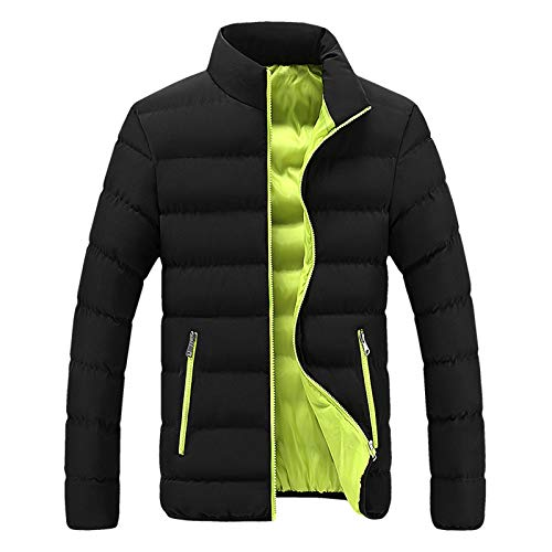 SSDXY Softshell Jacket for Mens Thick Bubble Coat Winter Warm Parka Hardshell Slim Fit Outwear Leisure Hip Hop Urban Coats (Large, A Green)