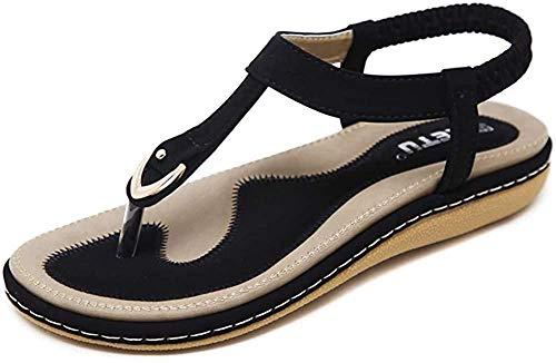 Sandalen Damen Sommer Flach Sandaletten mit Strass Perlen Frauen Strand Boho Zehentrenner Schwarz Größe 35