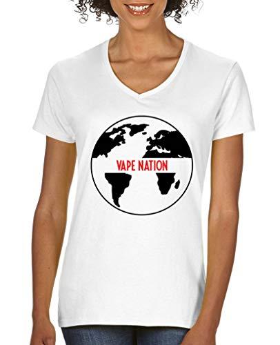 Comedy Shirts - Vape Nation Globus - Damen V-Neck T-Shirt - Weiss/Schwarz-Rot Gr. S