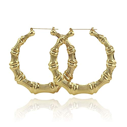 Hip-Hop Oversized Round Circle Bamboo Hoop Earrings 85mm