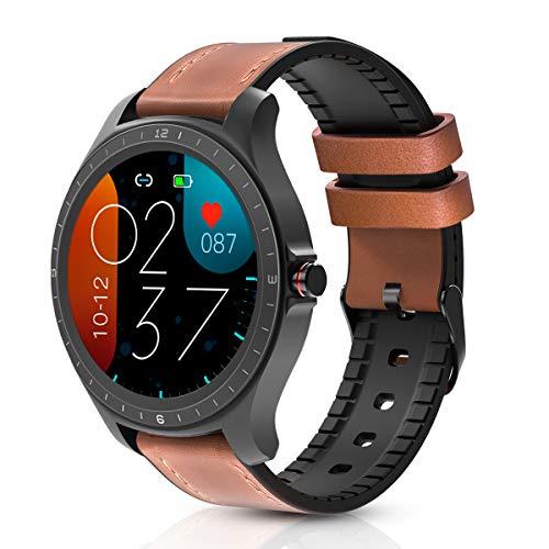 Smartwatch, BlitzWolf 1,3Zoll Voll-Touchscreen IP67 wasserdichte Smartwatch Fitness Tracker Sportuhr Uhr Intelligente Armbanduhr mit Pulsmesser, Schrittzähler, Schlaf-Monitor für iPhone Android(Braun)