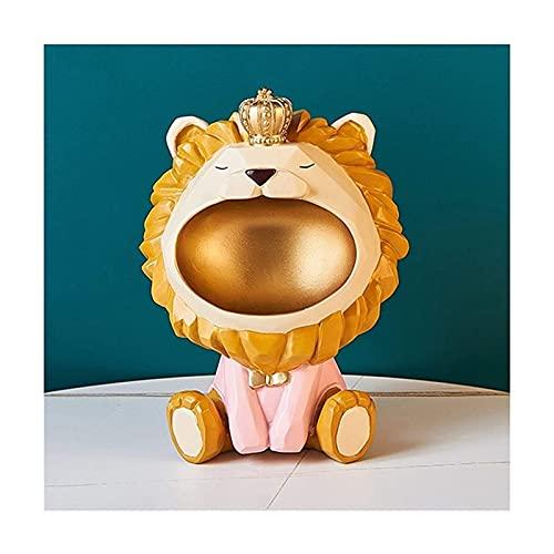 Tazón dominante, Creative Lion Sculpture Candy Tray Storage Key Tray, Resina Arte Escultura Figuritas Decoración del Hogar Regalo Decoración, Joyería Key Mobile Phone Storage Basket Home
