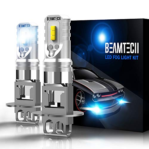 BEAMTECH H3 Led Fog Light Bulb,CSP Chips 800 Lumens 6500K Xenon White Extremely Bright of 2