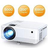 Proyector APEMAN 5000 Lúmen Mini Proyector, Soporte 1080p HD Portátil LED Proyector, Duales Altavoz, 50,000 Horas de Vida, de Cine en Casa Soporte HDMI/USB/VGA/TF/ y TV Stick