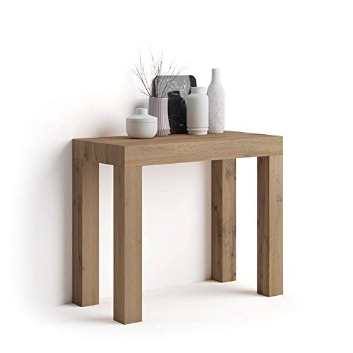 Mobili Fiver, Table Console Extensible First, Bois Rustique, 90 x 45 x 76 cm, Made in Italy