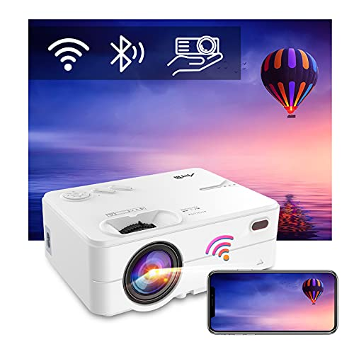"""WiFi Bluetooth Projector - Artlii Enjoy 2 Mini Projector for iPhone Support Full HD 1080P, Keystone & Zoom, 200"""" Portable Movie Projector Compatible with TV Stick, iOS, Android"""