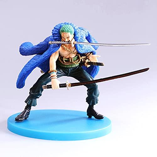 Kurrma One Piece Roronoa Zoro (4.7in / 12cm) Sombrero de Paja Piratas Edición 20 Aniversario Ropa Azul Tres Espadas Modelo de Personaje de Dibujos Animados en Caja de PVC/Estatua Figura de acción Co