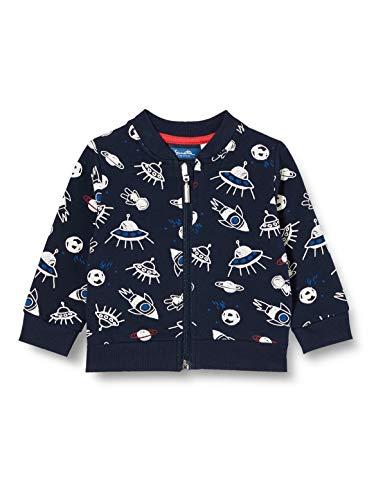 Sanetta Baby-Jungen Sweatjacke Shadow Blue Dunkelblaue Jacke mit einem fabelhaften Alloverprint zum Thema Inter Galactic, blau, 068