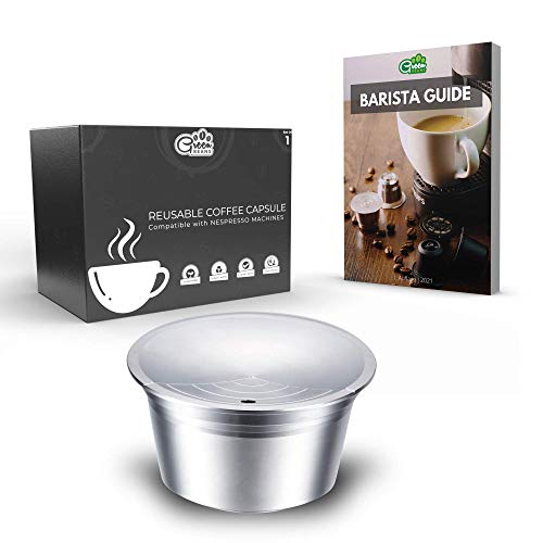 Green BEANS Cápsulas de café de acero inoxidable reutilizables para máquinas de café DOLCE GUSTO set de 1 + Guía del barista GRATIS [E-Book]