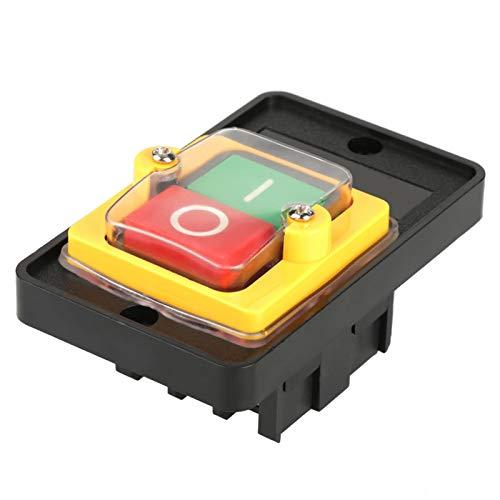 Interruptor de botón, interruptor de bloqueo automático duradero, metal plástico negro 10A para herramientas eléctricas 2 botones