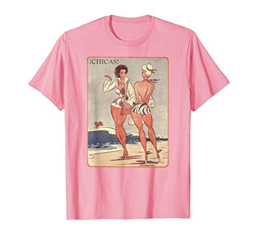 Summertime Pin Up Art Chicas Retro Bikini Beach Camiseta