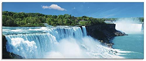 Artland Glasbilder Wandbild Glas Bild einteilig 125x50 cm Querformat Natur Landschaft Wasserfall Niagara Fälle Dschungel Urwald Blau T5SG