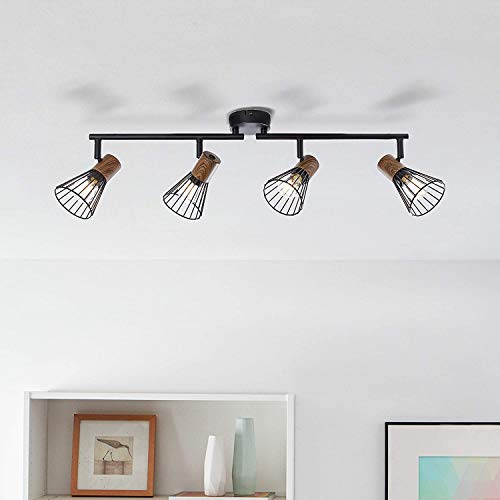 Lightbox Deckenstrahler, 4-flammig, drehbar, 4x E14 max. 18 Watt, Metall/Holz, holz dunkel/schwarz matt
