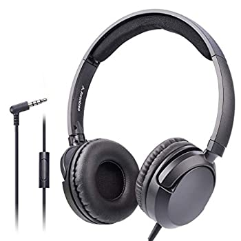 Avantree Superb Sound Wired On Ear Headphones with Microphone 1.5M / 4.9FT Long Cord with Mic for Adults Students Kids Comfortable Headset for PC Computer Laptop Tablet Phone - 026 Black