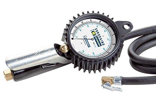 Pregunto, inflador de neumáticos Gauge Eurodainu 1991/CEE por Michelin, doble escala graduada Bar (0,7–12)–psi (10–174) ø80mm manómetro, 150cm manguera, para válvulas estándar