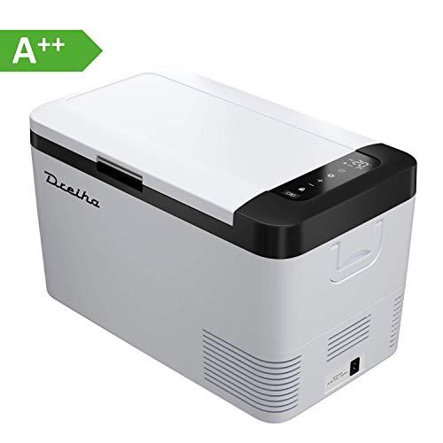 Dreiha CBX18 Kühlbox 18 Liter, elektrische tragbare Kompressor Kühlbox/Gefrierbox 12V/24V und 230V für Auto, LKW, Boot, Camping, Wohnmobil und Steckdose, Kühlung von -20 °C bis +20°C