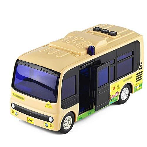 Tire hacia atrás de los juguetes del coche, grande Inercial que se puede abrir Kindergarten Modelo de autobús escolar Aleación Autobús escolar Coche de juguete Simulación Sonido y ligero Coche de jugu