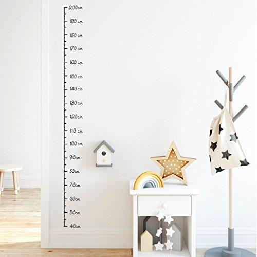 Wandtattoo-Loft Wandtattoo Messlatte (40-200 cm) für Kinderzimmer Maßband Wandaufkleber/Wandsticker/Wanddeko / 54 Farben/grau /