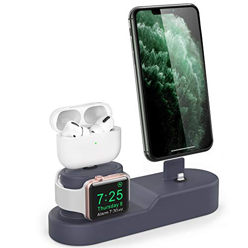 AhaStyle 3 in 1 Charging Stand Silicone Desktop Dock Holder [Chargers NOT Included] Compatible with Apple Watch, AirPods Pro/AirPods/AirPods 2 and All iPhone Models(Navy Blue)