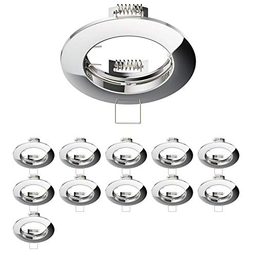 parlat Marco de montaje en el techo CIRC Anillo de montaje de aluminio cromado (LED/Halógeno/GU10/MR16/PAR16/50mm), 12 piezas.