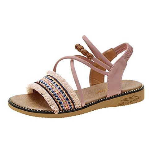 Sandalias de Mujer Estilo de nación de Moda Borla con Cuentas Decoración Tela de algodón Banda elástica Peep Toe Playa Verano Damas Sandalias de Gladiador
