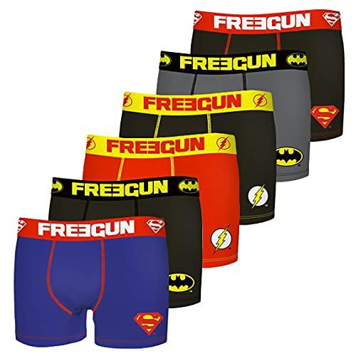 FREEGUN Calecon Boxer Homme Coton DC Comics (Lot de 6) Taille M