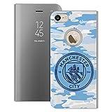 Head Case Designs Oficial Manchester City Man City FC Luna Azul Claro Mono Chapa Camou Fundas con Función Atril Compatible con Apple iPhone 7 / iPhone 8 / iPhone SE 2020