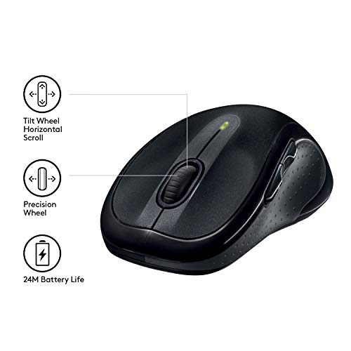 Logitech M510 Kabellose Maus, 2.4 GHz Verbindung via Unifying USB-Empfänger, 1000 DPI Laser-Sensor, 24-Monate Akkulaufzeit, 7 Tasten, PC/Mac – Schwarz, Englische Verpackung - 3