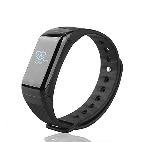 Fitness Tracker Neue Sport wasserdicht Smart Armband Armband Uhr mit Pulsmesser Schrittzähler Touchscreen für iPhone Samsung IOS Android Smartphones(Black)