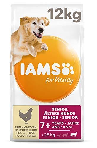 IAMS for Vitality Senior Hundefutter trocken für große Rassen mit frischem Huhn, 12kg