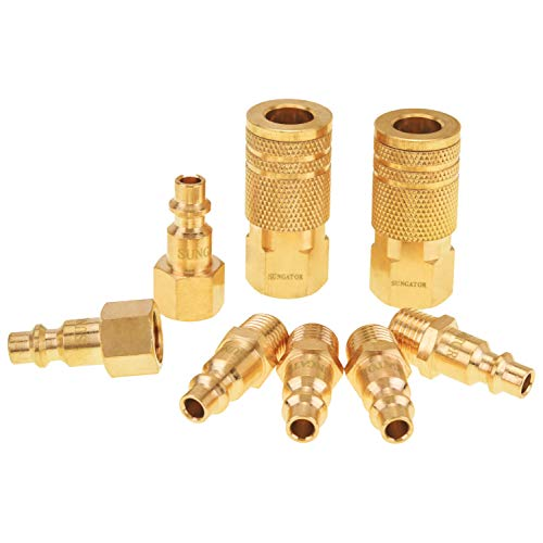 SUNGATOR Air Coupler and Plug Kit, Quick Connector Air Fittings, 1/4 Inch NPT Industrial Brass Air Hose Fitting (8-Piece)