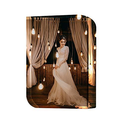 Personalisierte Runde Kristallglas Fotorahmen mit Basis Glasfoto mit 3D Wunschfoto Lasergravur Fotogeschenke Selbst Individuell Gestalten für Weihnachten Muttertag Hochzeit Geburtstag Wohnkultur