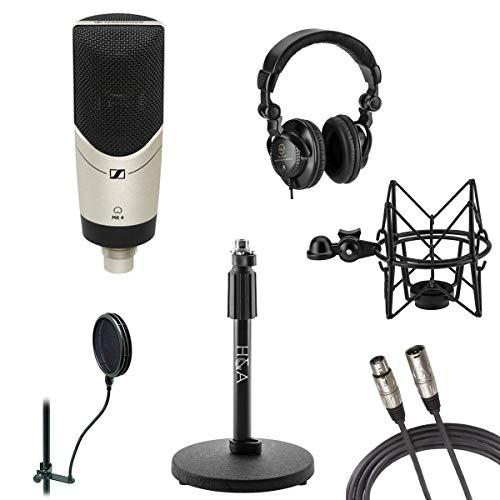 Sennheiser MK 4 Studio Condenser Microphone, Bundle With Cardioid Polar Pattern, Desktop Mic Stand, Shock Mount, 25' XLR Cable, Studio Monitor Headphones
