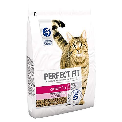 Perfect Fit Adult 1+ – Trockenfutter für erwachsene Katzen ab 1 Jahr – Reich an Lachs – Unterstützt die Vitalität – 3 x 2,8 kg