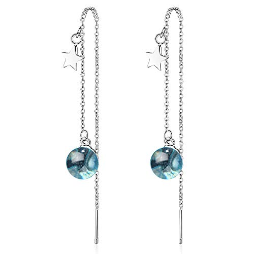 Chandler Pendientes largos de bola de cristal azul con borla para mujeres y niñas, regalo de cumpleaños