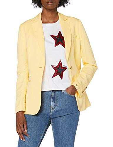 Tommy Hilfiger Linen Tencel SB Blazer Chaqueta de Traje, Amarillo (Sunray Zfb), 38 para Mujer