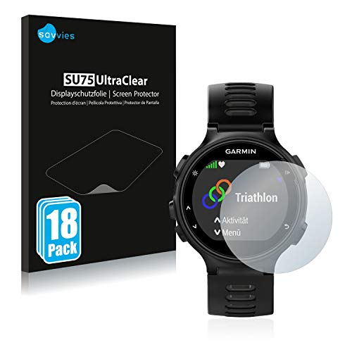 Savvies 18x Schutzfolie kompatibel mit Garmin Forerunner 735XT Bildschirmschutz-Folie Ultra-transparent