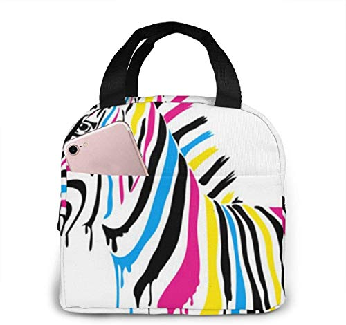 OIVLA Bolsa Térmica Zebra with Colored Stripes Portable Insulated Lunch Bag Workers Students Simple and Elegant Portable Insulation Lunch Bag